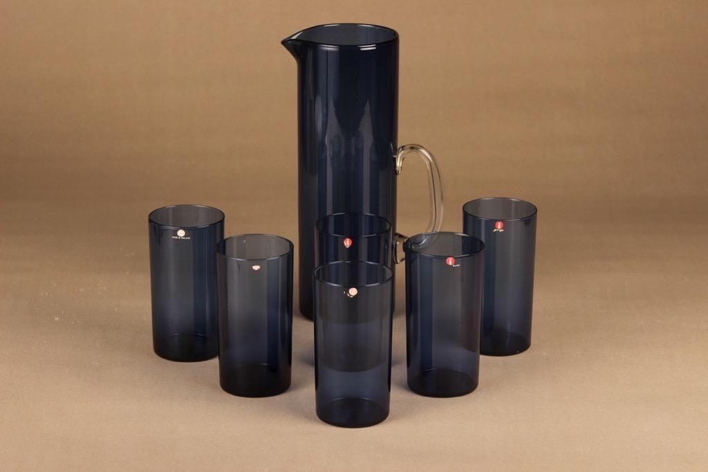 Iittala I-lasi kaadin ja 6 lasia, vaaleansininen, 1+6 kpl, suunnittelija Timo Sarpaneva,