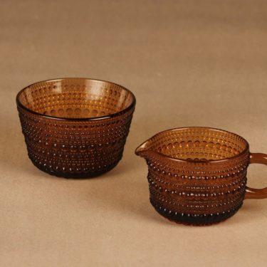 Nuutajärvi Kastehelmi sugar bowl and creamer, brown designer Oiva Toikka