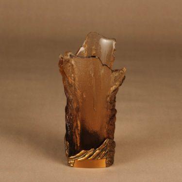 Kumela   maljakko, ruskea, suunnittelija Pentti Sarpaneva, pronssivanne