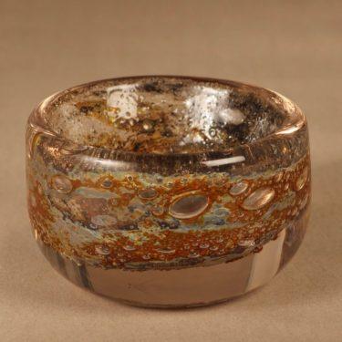 Nuutajärvi Vulcano art glass bowl, signed designer Heikki Orvola