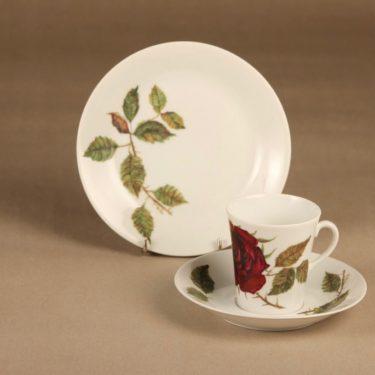 Arabia Ruusu kahvikuppi ja lautaset(2),, suunnittelija Anneli Qveflander, , serikuva, kukka