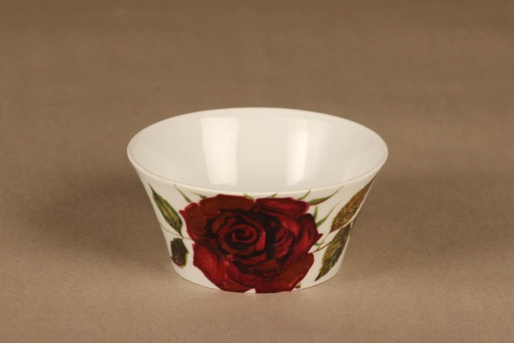 Arabia Ruusu sokerikko, punainen, vihreä, suunnittelija Anneli Qveflander, serikuva, kukka