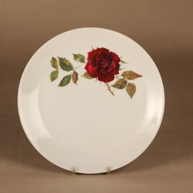 Arabia Ruusu tarjoilulautanen, punainen, vihreä, suunnittelija Anneli Qveflander, serikuva, kukka