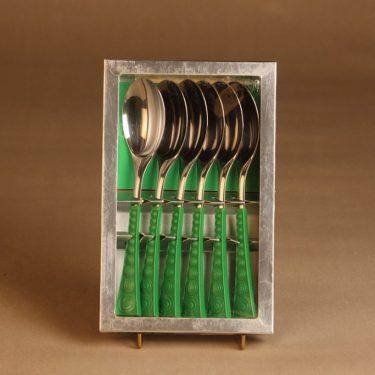 Hackman Colorina lusikka, vihreä, 6 kpl, suunnittelija Nanny Still, retro