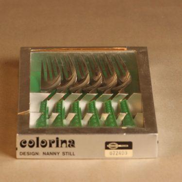 Hackman Colorina haarukka, vihreä, 6 kpl, suunnittelija Nanny Still, retro
