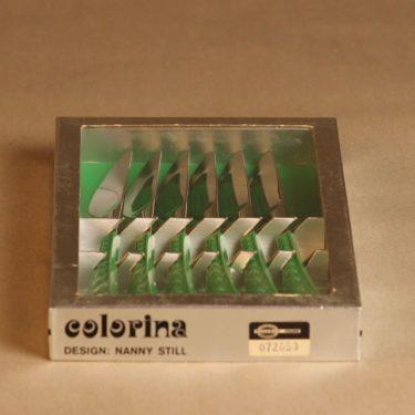 Hackman Colorina veitsi, vihreä, 6 kpl, suunnittelija Nanny Still, retro