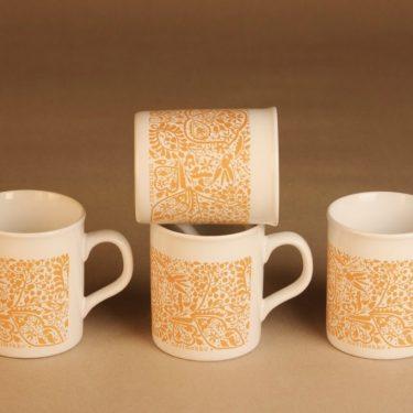 Marimekko   muki, oranssi, 4 kpl, suunnittelija Fujiwo ishimoto,