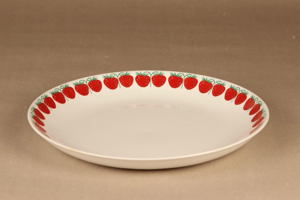 Arabia Pomona mansikka tarjoiluvati, punainen, suunnittelija Raija Uosikkinen, serikuva, mansikka