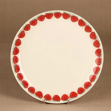 Arabia Pomona mansikka lautanen, 23.5 cm, suunnittelija Raija Uosikkinen, 23.5 cm, serikuva, mansikka