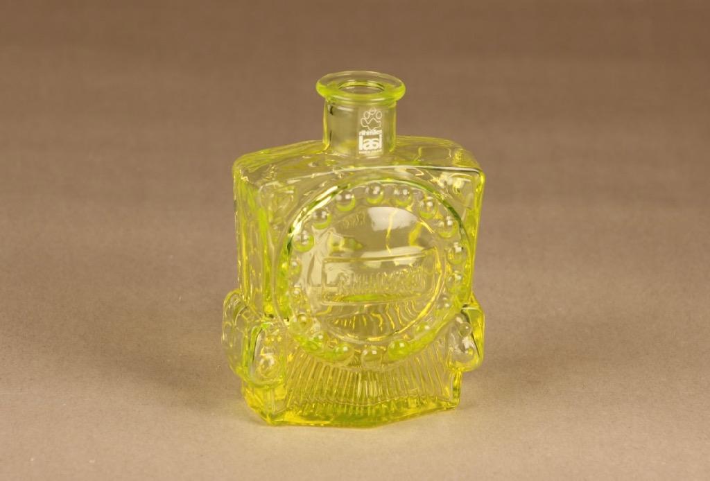 Riihimäen lasi Veturipullo decorative bottle, yellow designer  Erkkitapio Siiroinen