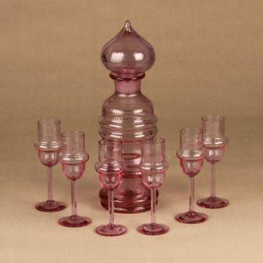 Riihimäen lasi Sulttaani karahvi ja 6 lasia, ametisti, 1+6 kpl, suunnittelija Nanny Still,