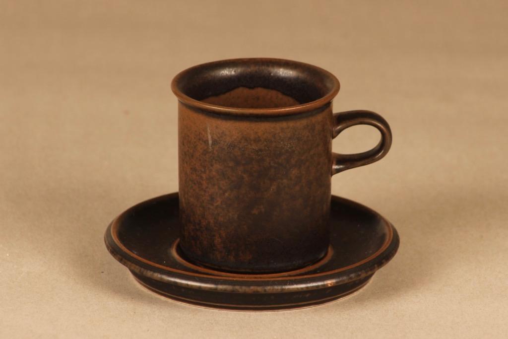 Arabia Ruska kahvikuppi, ruskea, suunnittelija Ulla Procope,