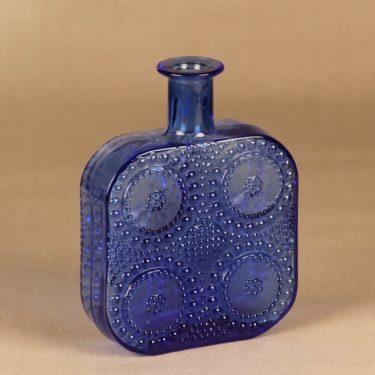 Riihimäen lasi Grapponia bottle, blue designer Nanny Still
