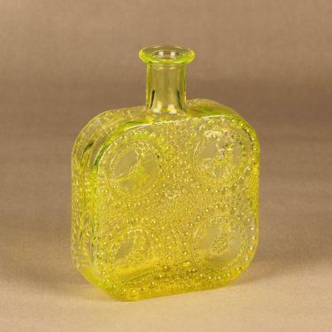 Riihimäen lasi Grapponia bottle, yellow designer Nanny Still