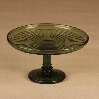 Riihimäen lasi Kara tarjoiluvati, jalallinen, suunnittelija , jalallinen, Puristemuotti peräisin Riihimäen Lasin 20-luvulla ostamalta Karan lasitehtaalta.