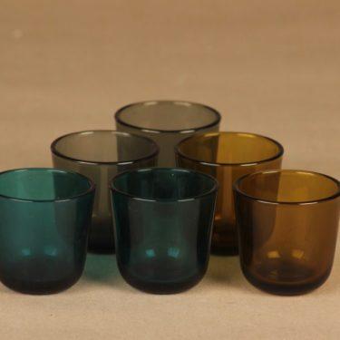 Nuutajärvi 5023 snapsilasi, eri värejä, 6 kpl, suunnittelija Kaj Franck,