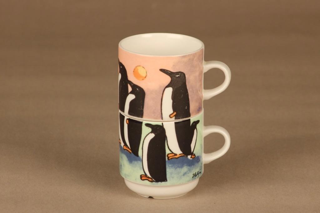 Arabia Kuppileikki Pingviinit, 2-osainen, suunnittelija Heljä Liukko-Sundström, 2-osainen