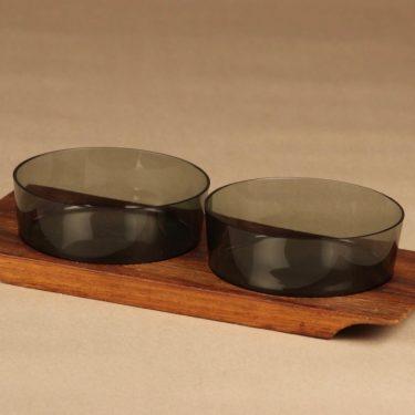 Nuutajärvi 1367 bowls and teak tray designer Saara Hopea