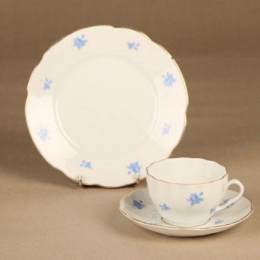 Arabia OB kahvikuppi ja lautaset(2), sininen, valkoinen, suunnittelija , kukka
