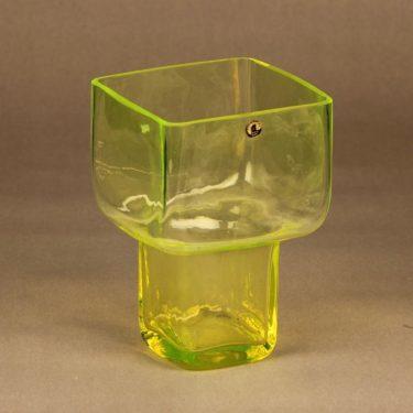 Riihimäen lasi Pultti vase, yellow designer Helena Tynell