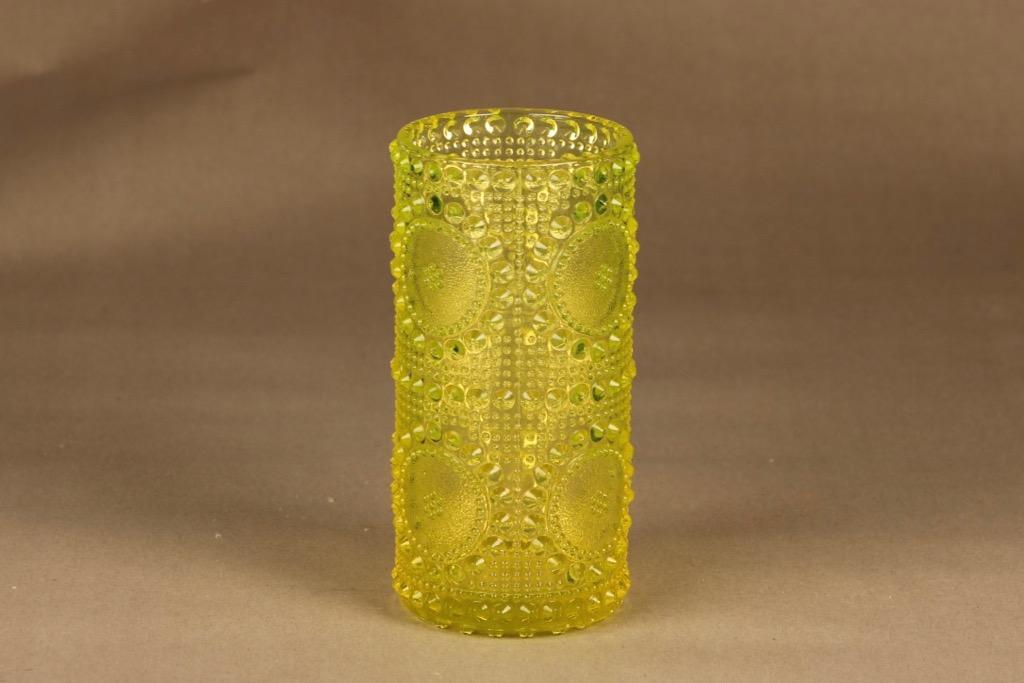 Riihimäen lasi Grapponia maljakko, keltainen, suunnittelija Nanny Still,