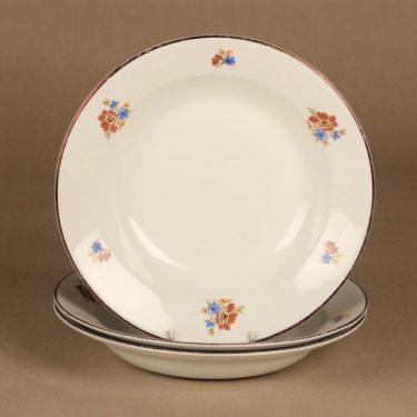 Arabia lautanen, syvä, 3 kpl, suunnittelija , syvä, kukka