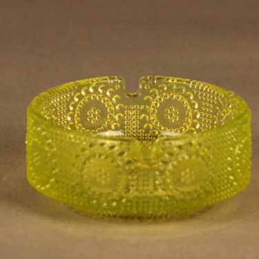 Riihimäen lasi Grapponia Tuhka-astia, keltainen, suunnittelija Nanny Still,