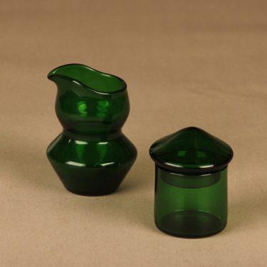 Riihimäen lasi SikSak kaadin ja purnukka, vihreä, suunnittelija Helena Tynell,