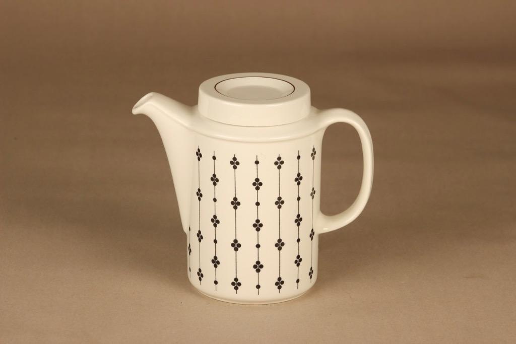 Arabia Kartano kahvikaadin, mustavalkoinen, suunnittelija Esteri Tomula,