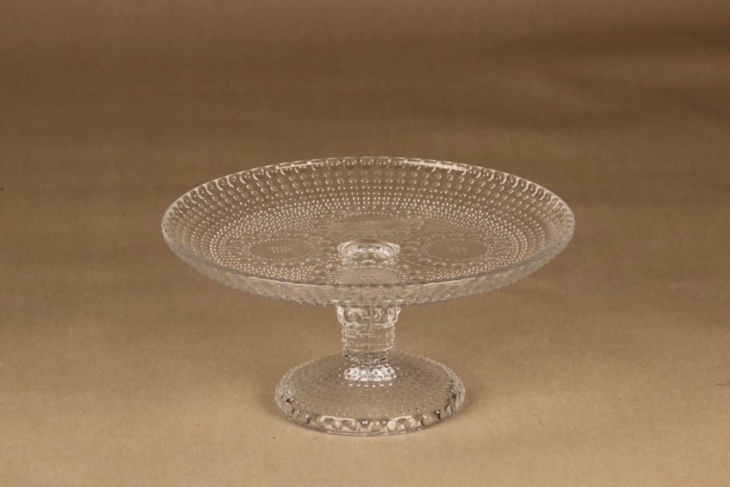 Riihimäen lasi Grapponia serving plate clear with feet designer Nanny Still