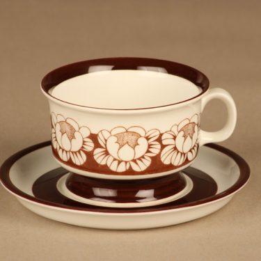 Arabia Katrilli teekuppi, ruskea, valkoinen, suunnittelija Esteri Tomula, serikuva