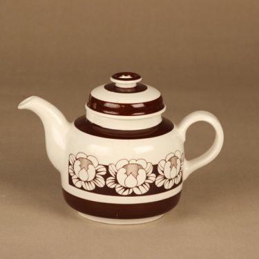 Arabia Katrilli teekaadin, ruskea, valkoinen, suunnittelija Esteri Tomula, serikuva