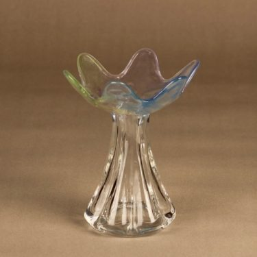 Riihimäen lasi Kukkainen Kukkainen, taidelasi, suunnittelija Helena Tynell, taidelasi, signeerattu