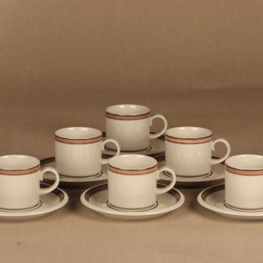Arabia Kaisa kahvikuppi, raitakoriste, 6 kpl, suunnittelija tuntematon, raitakoriste