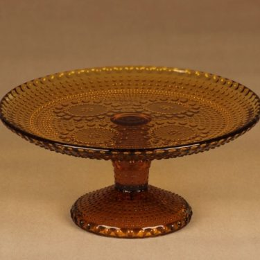 Riihimäen lasi Grapponia serving plate, with feet designer Nanny Still