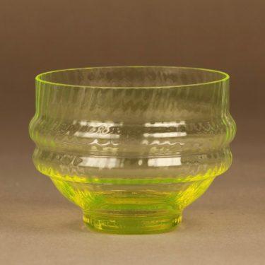 Riihimäen lasi Sulttaani jälkiruokakulho, keltainen, suunnittelija Nanny Still,