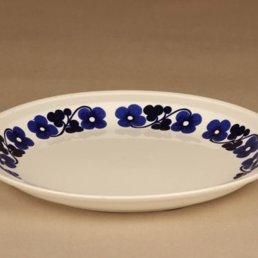 Arabia Aamu tarjoilulautanen, sininen, valkoinen, suunnittelija Esteri Tomula, kukka, serikuva