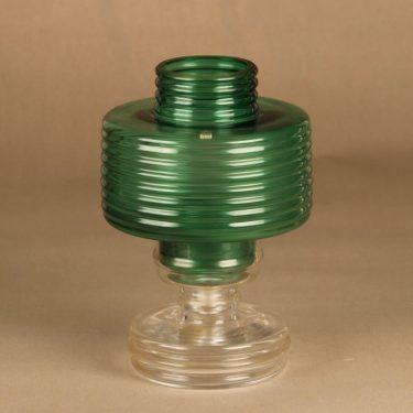 Riihimäen lasi Apollo kynttilälyhty, vihreä, kirkas, suunnittelija Nanny Still, Kaksi-osainen