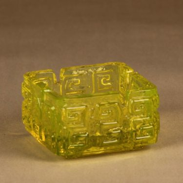 Riihimäen lasi Taalari tuhka-astia, keltainen, suunnittelija Tamara Aladin,