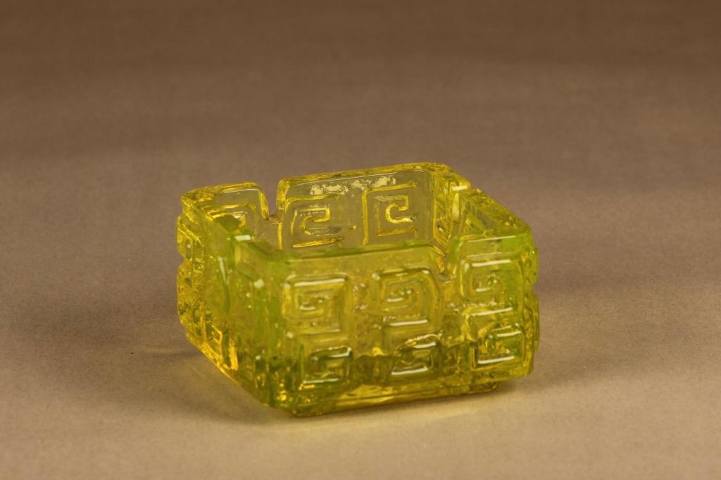 Riihimäen lasi Taalari ash tray, yellow designer Tamara Aladin