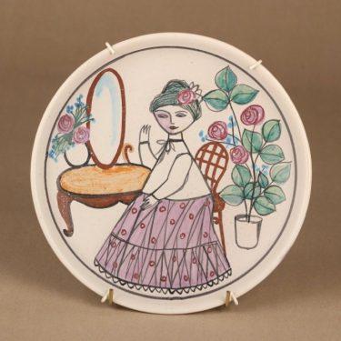 Kupittaan savi seinälautanen, käsinmaalattu, suunnittelija Laila Zink, käsinmaalattu, signeerattu