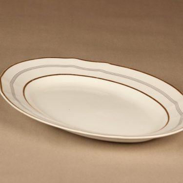 Arabia Hermes tarjoiluvati, valkoinen, kulta, musta, suunnittelija tuntematon, raitakoriste