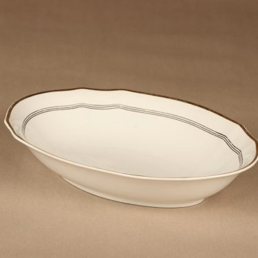 Arabia Hermes tarjoilukulho, valkoinen, kulta, musta, suunnittelija tuntematon, raitakoriste