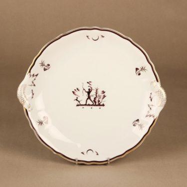 Arabia Diana tarjoilulautanen, valkoinen, kulta, suunnittelija Einar Forseth, art deco, metsästäjä-aihe