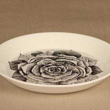 Arabia Musta ruusu lautanen, 23 cm, suunnittelija Esteri Tomula, 23 cm, serikuva, kukka