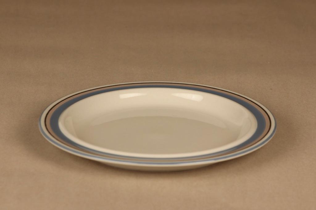 Arabia Uhtua lautanen, 24 cm, 6 kpl, suunnittelija Inkeri Leivo, 24 cm, raitakoriste